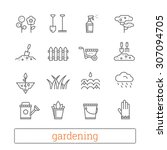 gardening thin line icons.... | Shutterstock .eps vector #307094705