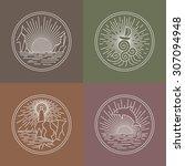 outline circle logo brand... | Shutterstock .eps vector #307094948