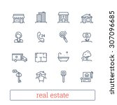 real estate thin line icons.... | Shutterstock .eps vector #307096685