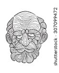 hand draw of old man in... | Shutterstock .eps vector #307099472