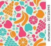 seamless pattern with fruits... | Shutterstock . vector #307106945