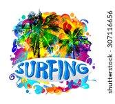 handwriting surfing inscription ... | Shutterstock .eps vector #307116656