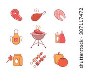 barbecue and outdoor meat and... | Shutterstock .eps vector #307117472