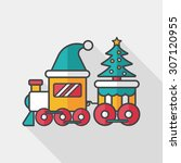 christmas train toy flat icon... | Shutterstock .eps vector #307120955