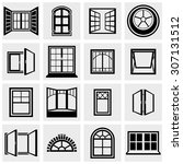 windows vector icons set on gray
