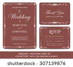 wedding invitation cards set... | Shutterstock .eps vector #307139876