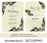 wedding invitation cards set... | Shutterstock .eps vector #307139945
