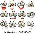 facial expression with glasses... | Shutterstock .eps vector #307140602