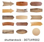 wooden sign isolated on white... | Shutterstock . vector #307149002