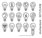 Light Bulb Concept Line Icons...