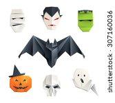 set of origami halloween... | Shutterstock .eps vector #307160036