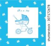 illustration of blue pram with ...   Shutterstock . vector #307172678