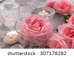 Pink Rose With Candle On Lace