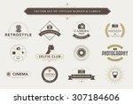 set of vintage camera badges... | Shutterstock .eps vector #307184606