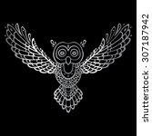 owl. tribal pattern. polynesian ... | Shutterstock .eps vector #307187942