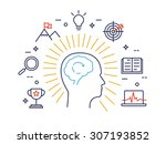 linear concept of human mind... | Shutterstock .eps vector #307193852
