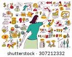 business woman doodles... | Shutterstock .eps vector #307212332