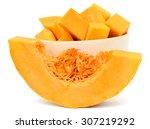 Sliced Pumpkin Isolated On...