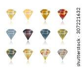 cartoon gems and diamonds icons ...