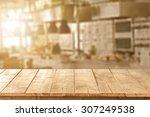 blurred background of kitchen... | Shutterstock . vector #307249538