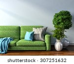 interior with green sofa. 3d... | Shutterstock . vector #307251632