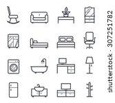 furniture icon bold stroke on... | Shutterstock .eps vector #307251782