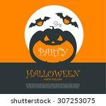 halloween party design template ... | Shutterstock .eps vector #307253075
