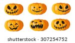 set pumpkins for halloween.... | Shutterstock .eps vector #307254752