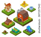 farm set in isometric view.... | Shutterstock .eps vector #307257542