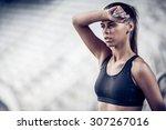 fitness woman on stadium | Shutterstock . vector #307267016