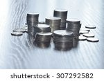 stack of coins in blue tone | Shutterstock . vector #307292582