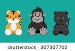 tiger gorilla panther doll set...