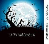 halloween background with... | Shutterstock .eps vector #307309652
