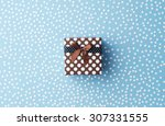 christmas gift box with snow... | Shutterstock . vector #307331555