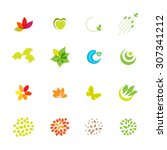 eco friendly vector icons set.... | Shutterstock .eps vector #307341212