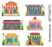 Shops And Stores Icons Set In...