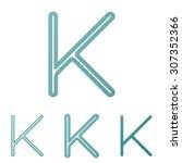 teal line letter k logo design...