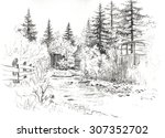 graphic siberian landscape with