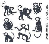 Black Monkeys Silhouettes...