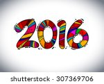 happy new 2016 year greeting... | Shutterstock .eps vector #307369706