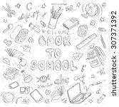 back to school doodles | Shutterstock .eps vector #307371392
