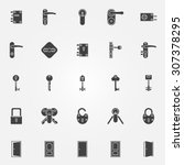 door lock icons set | Shutterstock .eps vector #307378295