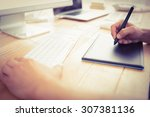 graphic designer working with...   Shutterstock . vector #307381136