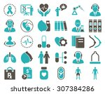 medical icon set. these flat... | Shutterstock . vector #307384286