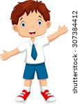 cute boy in a school uniform | Shutterstock .eps vector #307384412