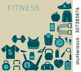 sports background with fitness...   Shutterstock .eps vector #307385876