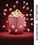 cinema style popcorn in a... | Shutterstock . vector #307389266