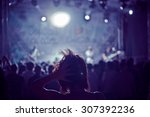 woman silhouette in a crowd at... | Shutterstock . vector #307392236
