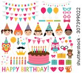 vector kids birthday party set | Shutterstock .eps vector #307399022