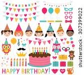 vector kids birthday party set   Shutterstock .eps vector #307399022